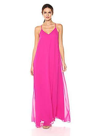 Nicole Miller Womens V-Neck Spaghetti Strap Long Maxi Party Dress, Raspberry, 2