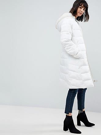 Asos ASOS - Cappotto lungo imbottito con cappuccio con bordo in pelliccia  sintetica - Bianco e30b522a83c9