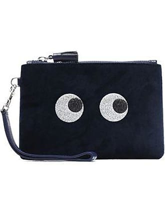 Anya Hindmarch Anya Hindmarch Woman Glittered Velvet Pouch Midnight Blue Size