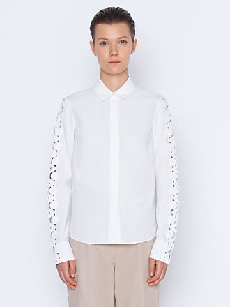 Akris Blouse in cotton with scallop wave cut out deatils