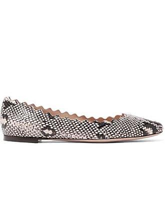 e4415b20a86 Chloé Lauren Scalloped Snake-effect Leather Ballet Flats - Snake print