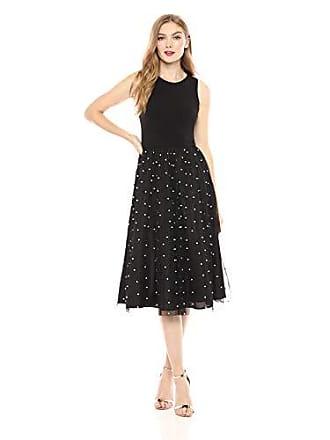 Calvin Klein Womens Sleeveless Midi with Tulle Skirt, Black/Ivory, 6