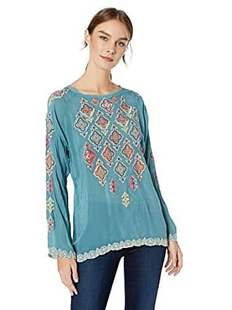 Johnny Was Womens Embroidered Crewneck Blouse, steam Blue, XS