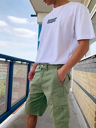 Edwin Pantaloncini cargo kaki-Verde