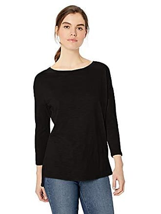 Daily Ritual Womens Lightweight Lived-In Cotton 3/4-Sleeve Drop-Shoulder Tunic, Black, Medium