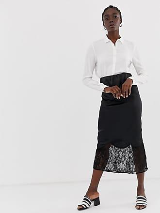 Asos bias cut satin midi slip skirt with lace hem - Black