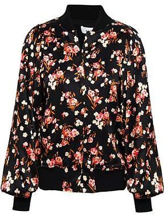 A.L.C. A.l.c. Woman Floral-print Stretch-silk Bomber Jacket Black Size S