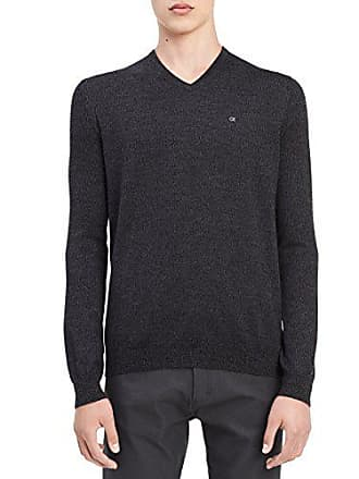 Calvin Klein Mens Merino Solid V-Neck Sweater, Charcoal Black Jack Heather, Small