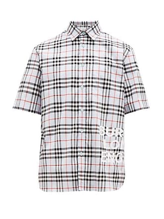 354ed2afa98f Burberry Sandor House Check Logo Print Cotton Shirt - Mens - Light Blue