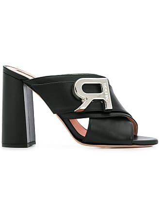 Rochas Sapato mule de couro com logo - Preto