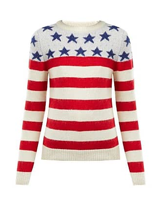 7104712c2f3 Saint Laurent American Flag Intarsia Wool Blend Sweater - Womens - Red Multi