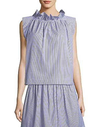 f5ff51ed66309 Atlantique Ascoli Mardi Sleeveless Striped Cotton Poplin Blouse w  Ruffled  Trim