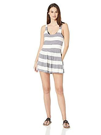 7ab7a5cd92 Splendid Womens Sleeveless Short Swimsuit Cover Up Romper, Breaking Plaid  Navy, Extra Small