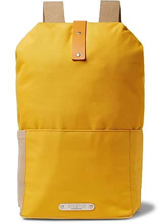 Brooks England Dalston Leather-trimmed Canvas Backpack - Yellow