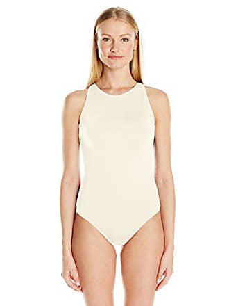 4841e4d33d2 Carmen Marc Valvo Womens High Neck One Piece Swimsuit with Back Cut Out  Details, Ivory