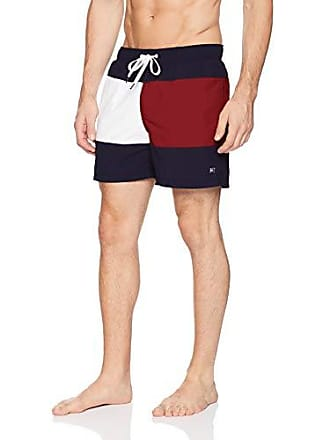 Tommy Hilfiger Mens Swim Trunks Mid Length Inseam, Navy Blazer/Red, X-Large