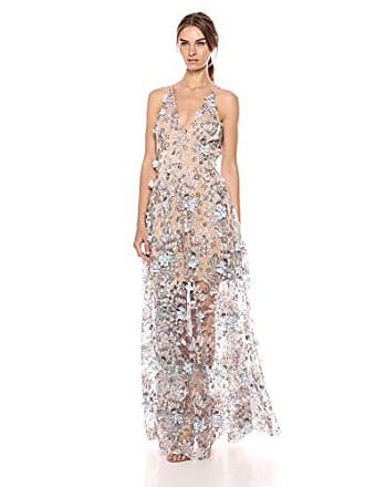 8cdd05db Dress The Population Womens Embellished Plunging Gown Sleeveless Floral Long  Dress, Sidney Mineral Blue,