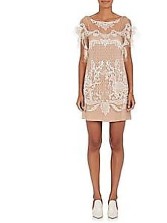 e1a7dde31372cc Alberta Ferretti Womens Beaded Tulle Shift Dress - Nudeflesh Size 40 IT