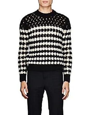 59b6bb4f3cdf Saint Laurent Mens Striped Open-Knit Sweater - Black Size L