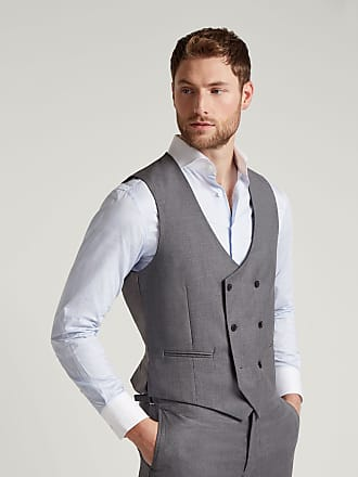 Hackett Mens Double-Breasted Wool Waistcoat | Size 40Regular | Grey