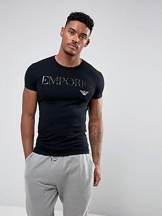 Emporio Armani Loungewear - T-shirt da casa nera con scritta del logo-Nero