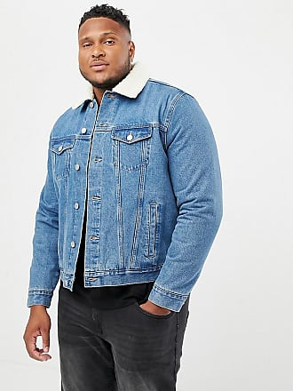 New Look Plus borg denim jacket in washed blue - Blue