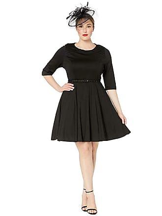 Unique Vintage Plus Size Knit 1/2 Sleeve Fit Flare Dress (Black) Womens Dress