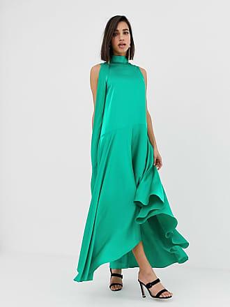 c356be30c3aa80 Asos sleeveless scarf neck satin midi dress with extreme sleeve - Green