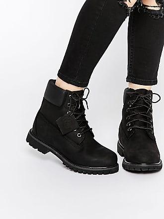 Timberland 6 inch premium black lace up flat boots - Black