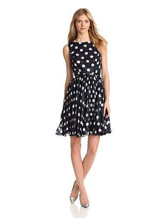 Adrianna Papell Womens Pleated Burn Out Dot Dress, Navy, 14