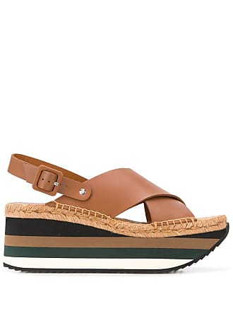 Paloma Barceló striped wedge sandals - Brown