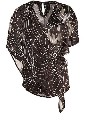 Yigal AzrouËl Tropical Leaf wrap blouse - Black