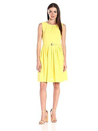 Ellen Tracy Womens Sleeveless Fit and Flare Dress with Belted Waist, Sun, 14