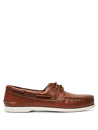Quoddy Downeast Leather Boat Shoes - Mens - Brown