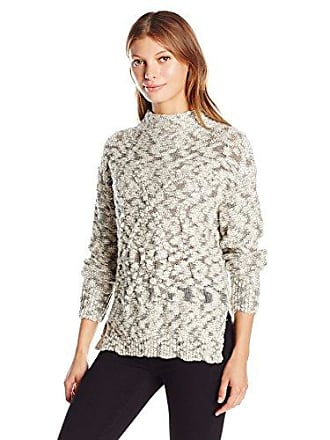 Michael Stars Womens Cotton Nub Cabled Turtleneck Pullover, Ivory/Black, Small