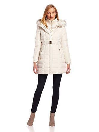 Kensie Kensie Womens Long Down Coat with Hood, Winter White, Large