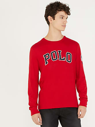 29dc7f2fb9b3 Polo Ralph Lauren T-shirt logotypé à manches longues custom slim fit Rouge  Polo Ralph