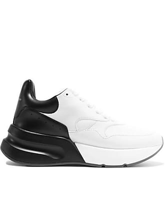 Alexander McQueen Two-tone Leather Exaggerated-sole Sneakers - White