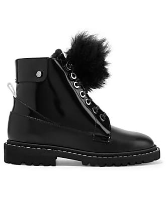 a8d3595b644 Jimmy Choo London The Voyager Snow Heated Shearling-trimmed Glossed-leather  Ankle Boots -