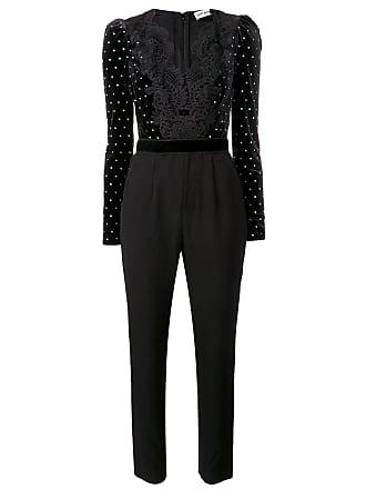 45e87e849c31 Self Portrait velvet-panelled jumpsuit - Black