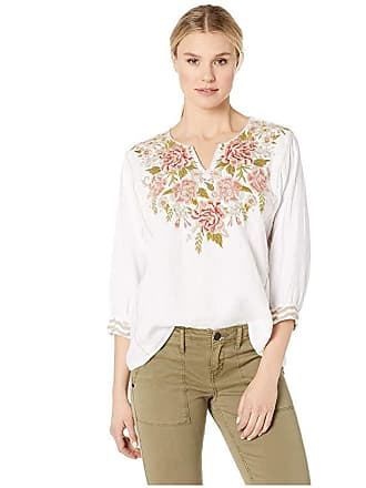 Johnny Was Cecile Boxy Peasant Blouse (White) Womens Clothing
