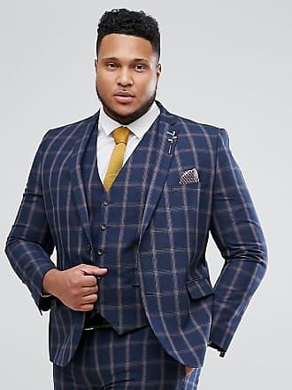 Harry Brown PLUS - Blårutig kostymkavaj med smal passform - Marinblå 2aace7fd994b9