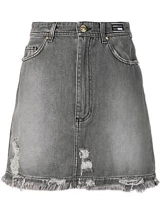 Versace Jeans Couture Saia jeans com detalhes puídos - Cinza