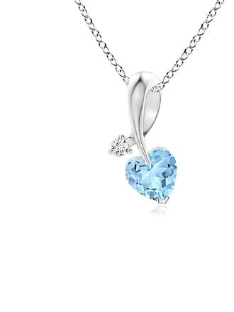 Angara Valentine Day Sale - Heart-Shaped Aquamarine Ribbon Pendant with Diamond