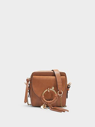 8f1067a3800be See By Chloé Mini Sac Joan Crossbody en Cuir Grainé et Suédé Caramello