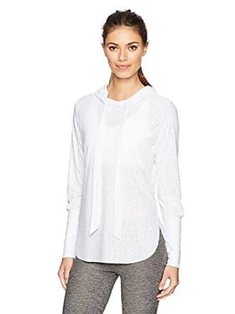 Maaji Womens Sparkling Waves Yoga Mesh Layer Pullover, White, L