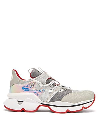 5cb898c55f8 Christian Louboutin Red Runner Lamé Trainers - Womens - Silver Multi