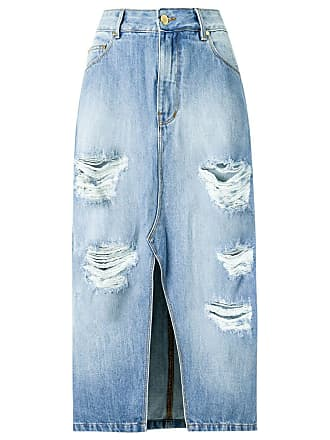 Amapô Saia jeans Hipster stone - Azul