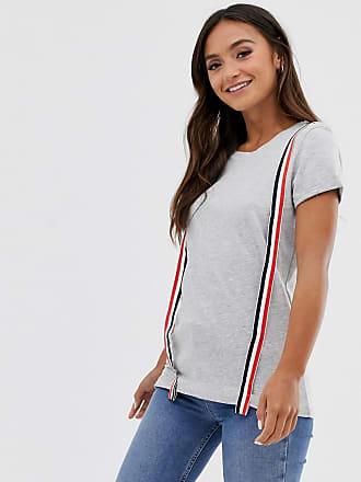 Brave Soul Kalkgraues T-Shirt mit aufgesetzten Streifen