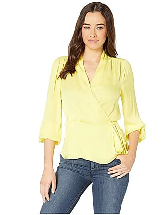 d246530a617f Vince Camuto Long Sleeve Peplum Hem Wrap Front Rumple Blouse (Blazing  Yellow) Womens Blouse